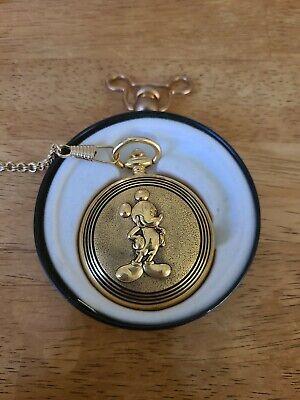 Mickey Unlimited Verichron Quartz Gold Tone Pocket Watch With Tin Case