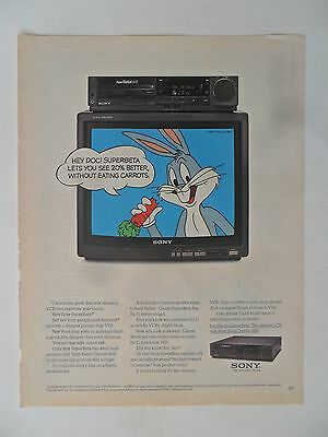 1985 Print Ad Sony VCR and Television ~ Bugs Bunny Looney Tunes
