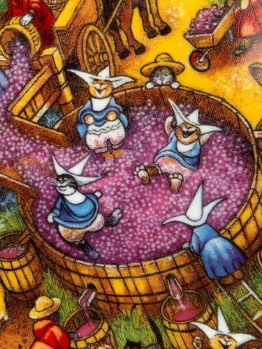 """Cat Art Plate """"A Purrfect Harvest"""" Bill Bell 24k Gold Trim 8"""" Franklin Mint"""