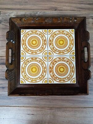 Vintage Hand Carved-made Varnished Wooden Tray with 4 Decorative Yellow Tiles