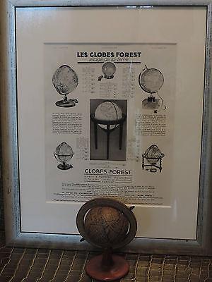 Alte Globus Globen Werbung von 1936 Erdkugel Globes Forest Girard & Barrére