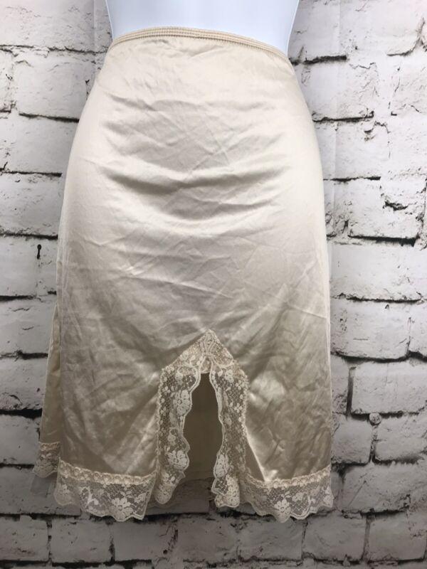 Vintage Camelot Satin Ivory Half Slip With Lace Detail Nylon Size Medium