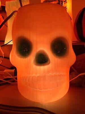 1960s AJ Renzi Orange / Green Glow Skeleton Skull Head Halloween Blowmold Bucket