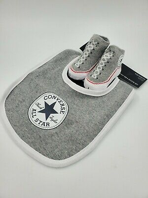 Converse Baby Booties & Bib Gift Set, Size 0-6, 6-12 Months, Gray, White L8 MP