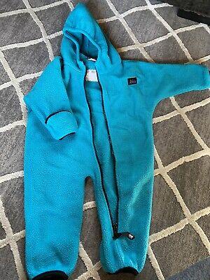 REI Infant Size 12M Teal Fleece One Piece Warm Suit Hooded Zip Up Mittens  Infant Fleece Mittens