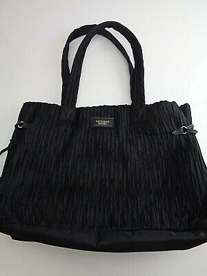Victoria's Secret Gathered Nylon Grand Lux Tote Bag Carry All, Shopper In Black Gathered Tote Bag