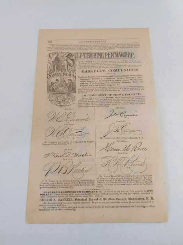 Rare 1879/1880 Self-Teaching Penmanship Course Print Ad Gaskell