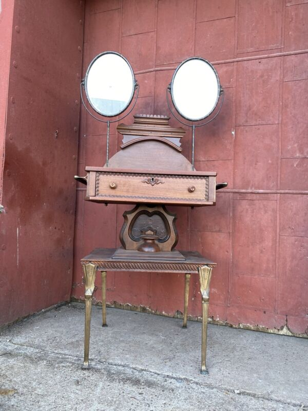 1900s Cherry Koken? Shaving Stand Double Mirror Barber Shop Twist Bathroom