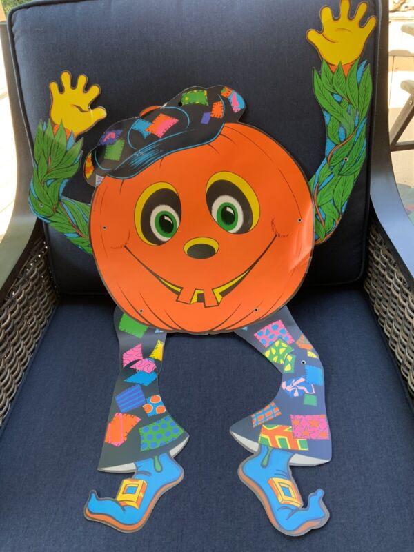 "Vintage 1976 Beistle 30"" Jointed Halloween Pumpkin Goblin Decoration Mid Century"
