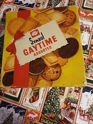 Large Vintage Symbol Gaytime Assorted Biscuits Tin 1940s/50s tv stage prop