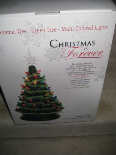 """NEW CHRISTMAS COLORFUL LIGHTED CERAMIC 16"""" LIGHT UP FOREVER TREE"""