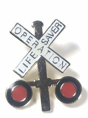 Railroad Crossing Pin Operation LifeSaver Lapel Tie Train Sign Lot Of 2 Pins