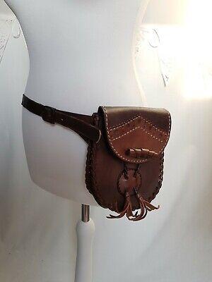 Vintage Leather Hip Waist Bag belt purse case brown