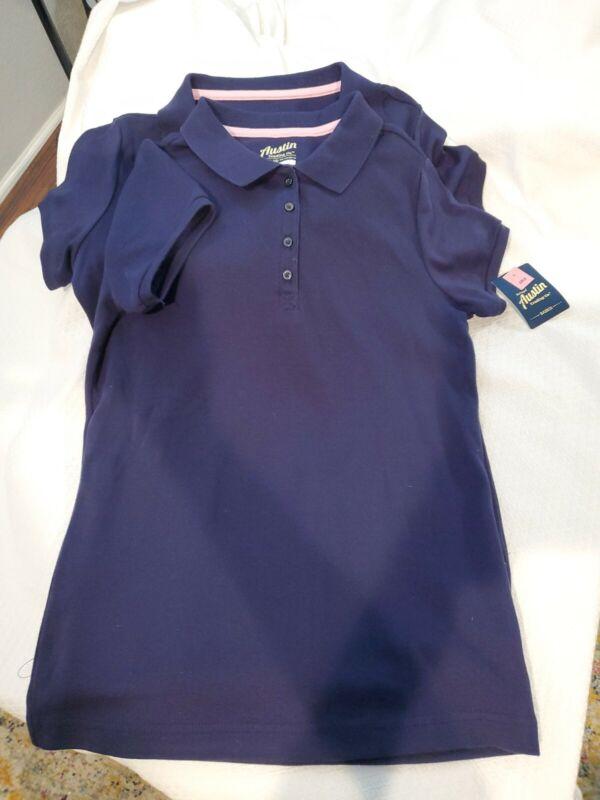 Austin Trading Co. Girls Uniform Polo Shirts. Navy Short Sleeve. NWT XL (14-16)