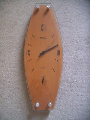 WBL Retro wooden and glass wall clock - excellent working order for sale  Shipping to South Africa