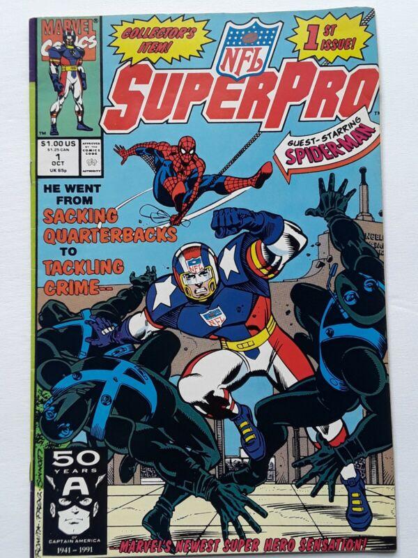 NFL Super Pro #1 October 1991 Marvel Comics Guest Starring Spider-Man Vintage