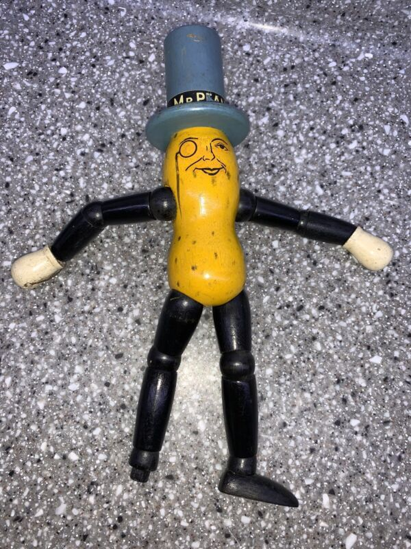 Vintage Painted Planters Wooden Mr. Peanut Articulated Figure Toy Rare