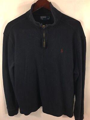 Ralph Lauren Men's XL Heavy Cotton Sweater Sweatshirt Navy Pullover W/ Red Pony