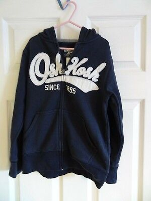 Oshkosh Boys  Navy/White Fleece Hoodie Light Jacket Size UK 8 years - Oshkosh Fleece Hoodie