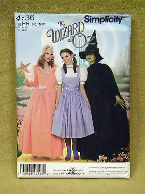 SIMPLICITY PATTERN 4136 WIZARD OF OZ COSTUMES DOROTHY MISS SIZES 6 8 10 12 UNCUT - Dorothy Wizard Of Oz Costume Pattern