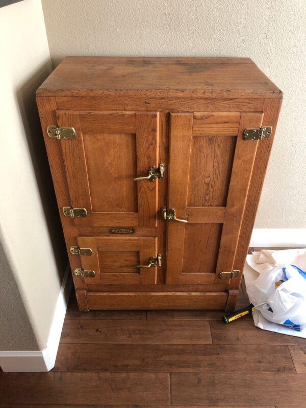 Antique Illinois  3 Door Oak Wood Ice Box Chest Refrigerator Brass Hardware