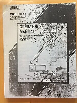 Terex Simon Mp80 Boom Man Lift Operators Manual Mp 80 Aerial Copy