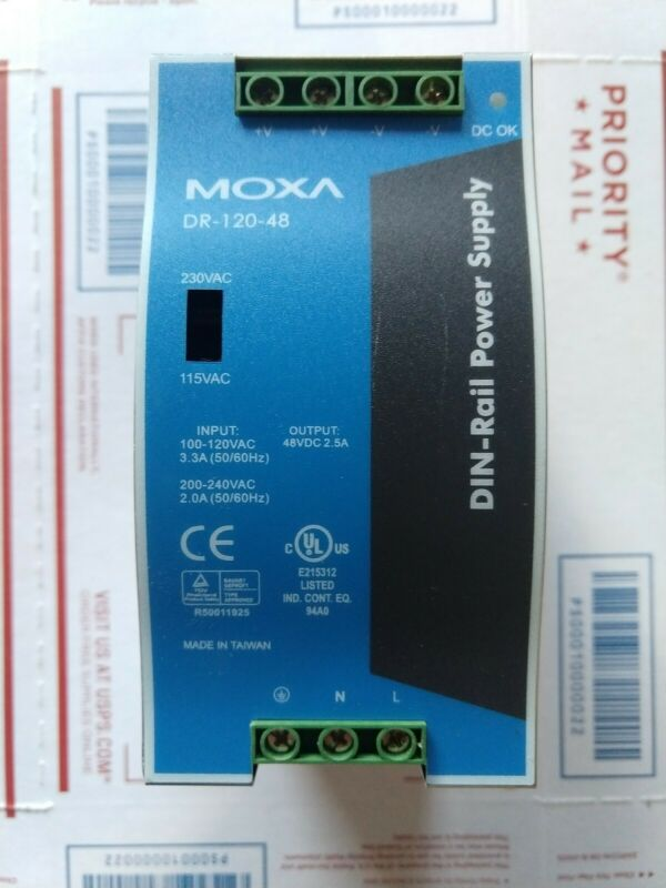 MOXA DR-120-48 DIN-Rail Power Supply 100-240VAC input to 48VDC output