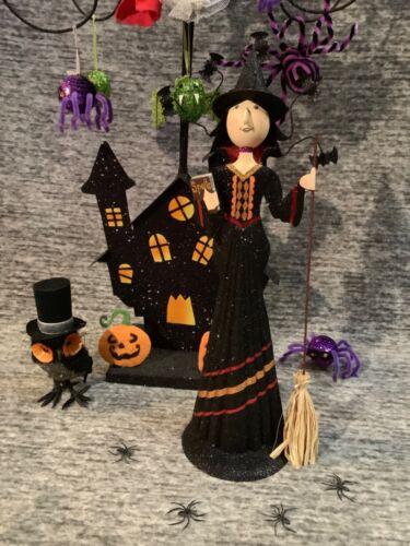 "Pier 1 Imports Halloween 17"" x 5"" Glitter Black Witch Broom Spell Book Bats GUC"