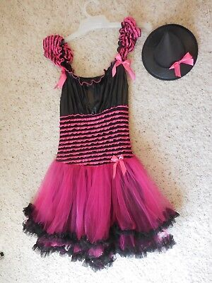 Pink And Black Witch Costume (Pink & Black Witch Halloween Costume Hat & Dress  Ladies Small)