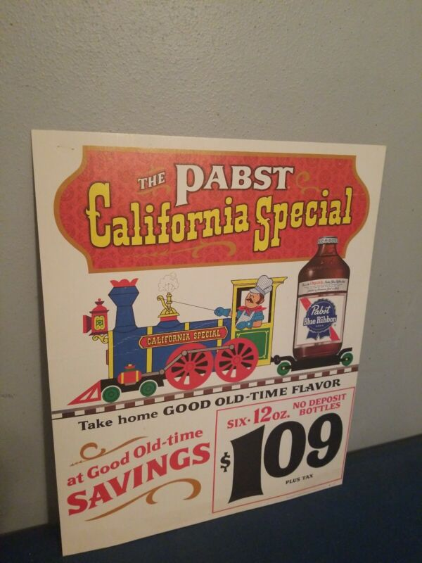 (VTG) 1960s pabst beer guy on train California special cardboard sign rare