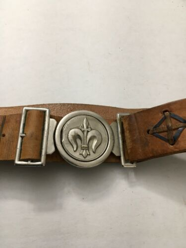 BOY SCOUT VINTAGE FOREIGN BELT AND BUCKLE