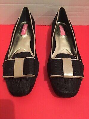 Isaac Mizrahi New York Black And Beige Flat Loafers 8 1/2