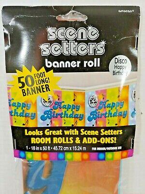 DISCO Dance Happy Birthday Party Room ROLL Scene Setters Decor Wall Cover - Disco Scene Setters