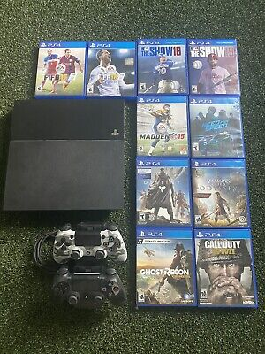 Sony PS4 PlayStation 4 500GB Console, 2 Controllers & Charging Dock & 10 Games!