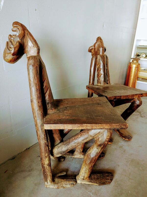 Rare Pair Of Carved Tribal African Figural Chairs