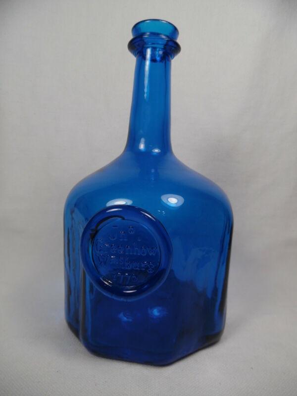 COLONIAL WILLIAMSBURG 1770 SEAL WINE BOTTLE BLENKO ROYAL COBALT BLUE