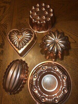 Lot Of 5 Vintage Copper Jello Molds Bundt Mold Baking