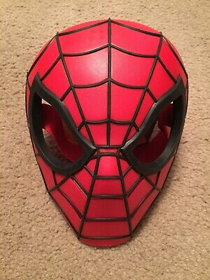 Hasbro Marvel SPIDERMAN Red & Black Hard Plastic Face Mask -One Sz Fits Most EUC