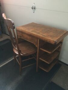 Antique oak desk and chair
