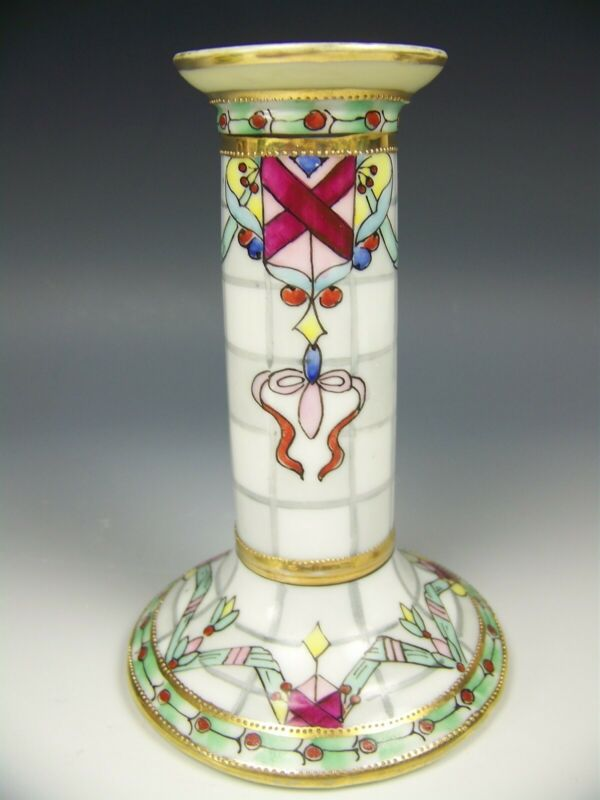 NIPPON HAND PAINTED MOSAIC RAISED GOLD RIBBONS CANDLE HOLDER