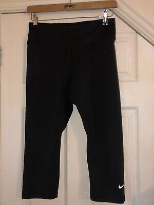 Nike Dri-Fit Ladies Black Capri Running Leggings Size L 14 Worn Once