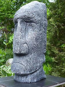Neu Moai - Tiki - Osterinsel-Figur-Skulptur-39 cm-Steinguss-Frostfest-patiniert