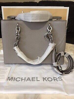 NWT Michael Kors Cynthia Grey Saffiano leather Satchel cross body bag,RRP 398