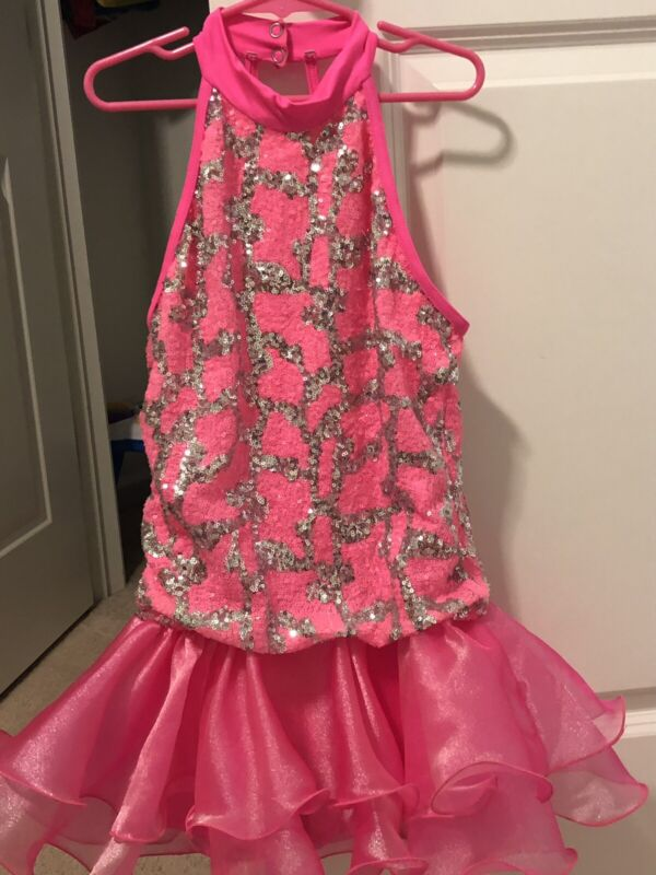 Weissman Girls Dance Costume Hot Pink With Silver Sequins Size LC ADORABLE EUC