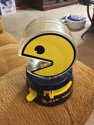 Pac-Man Gumballs Machine Coin Bank Mechanical Plastic With cup Vtg 1980s Works