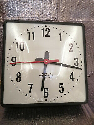 New Vintage Lathem Synchronous 12 Square Wall Clock Ss12qsa