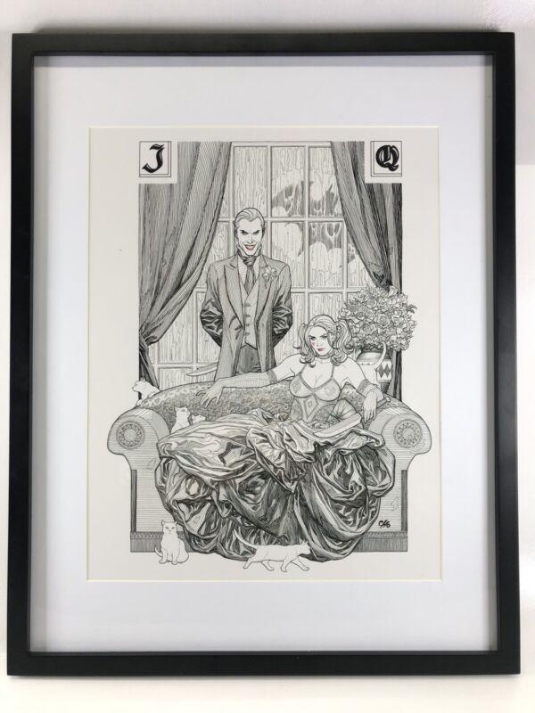 Harley Quinn & Joker DC Comic Framed Matted Poster Print 14.75x18.75 Frank Cho