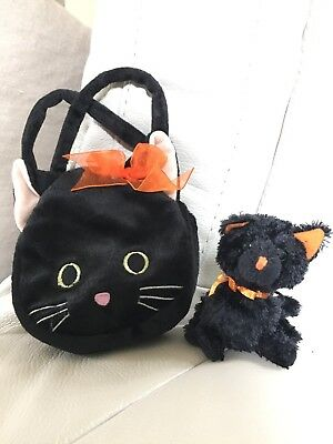 Black Cat Purse Goody Bag Orange Halloween Tote & Ty Halloween Kitty Cat beanie