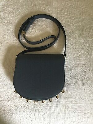 Alexander Wang Leather Lia Cross Body Bag. Petrol Blue with gold studs on base.