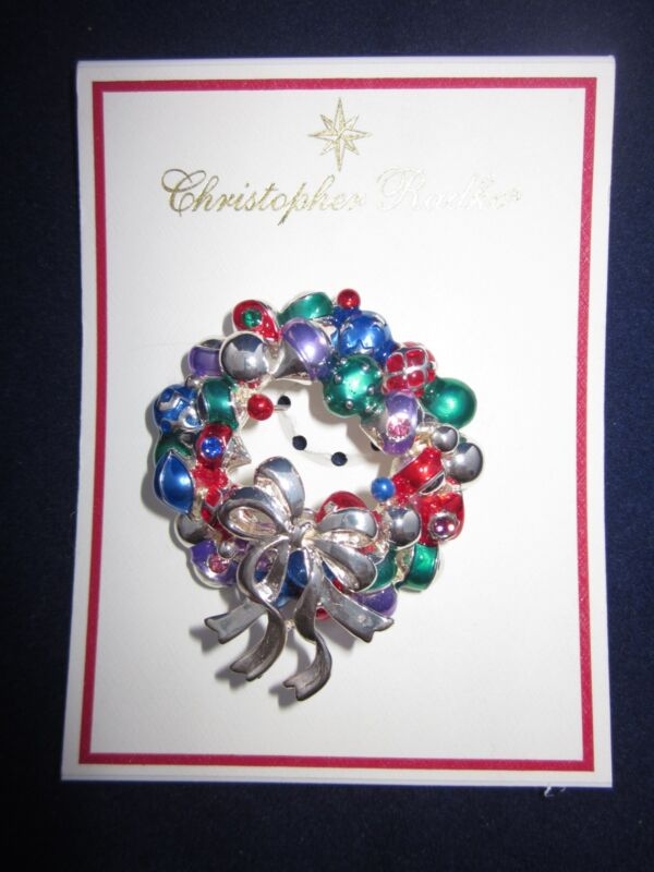 RADKO Christmas Wreath Pin Silver Color 2005 ~ NEW in MARSHALL FIELD